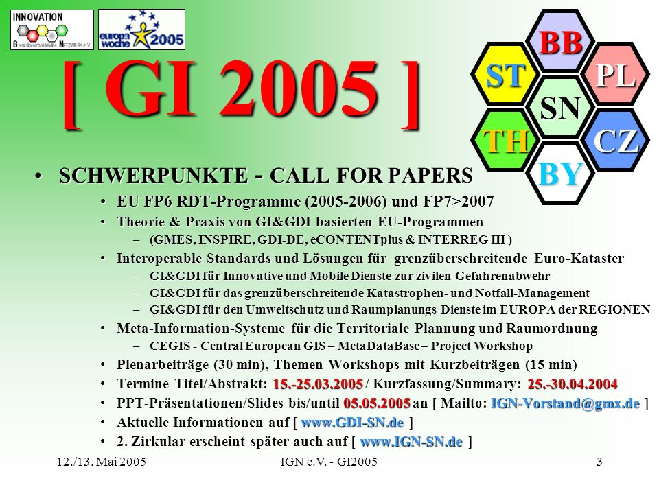 [ GI 2005 ] SCHWERPUNKTE - CALL FOR PAPERS